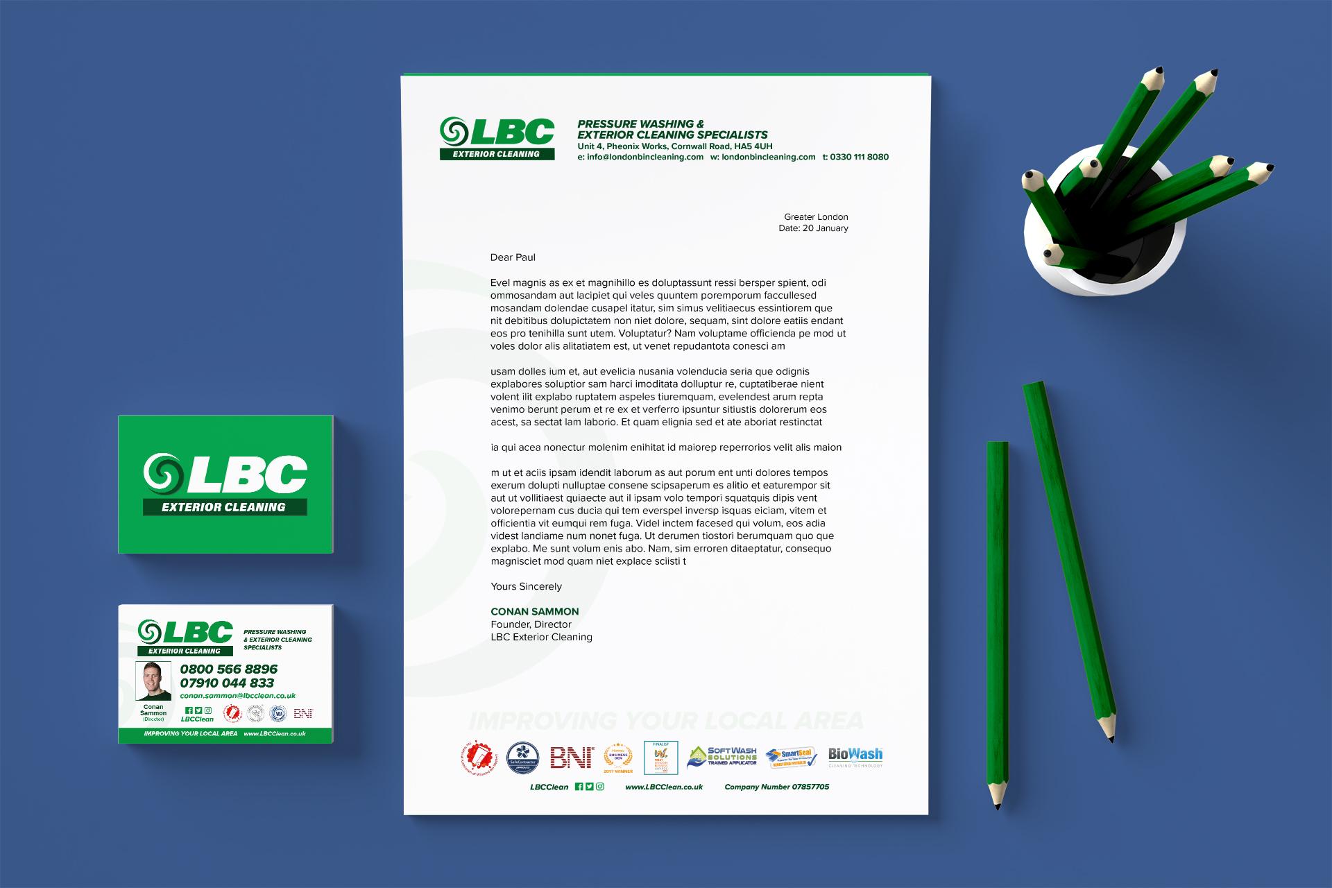 LBC stationery design image