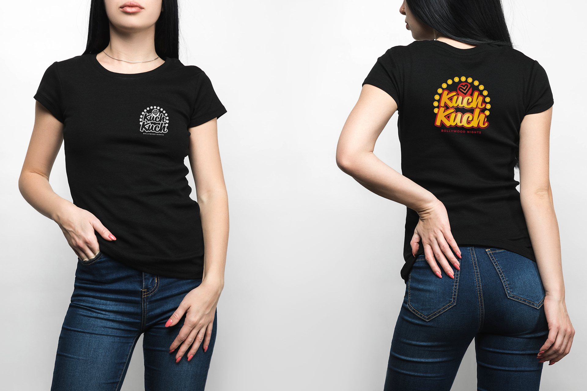 Image of front and back view black t-shirt, Kuch Kuch brand